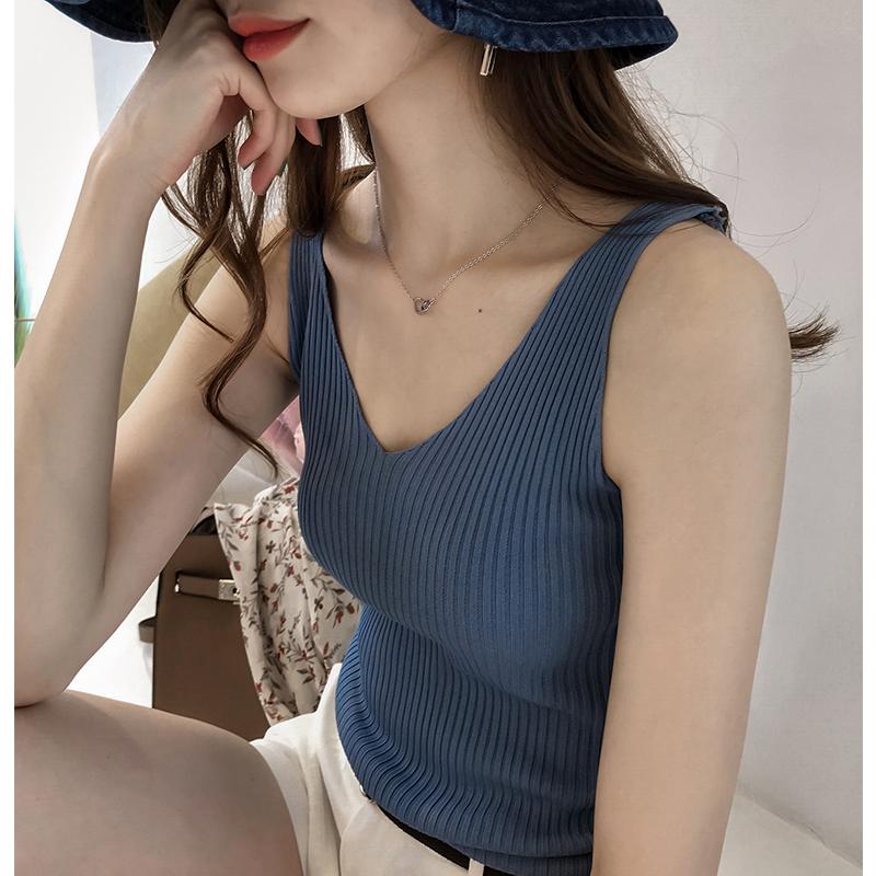 夏季女装新款内搭冰丝针织背心女无袖上衣修身显瘦打底吊带外穿潮