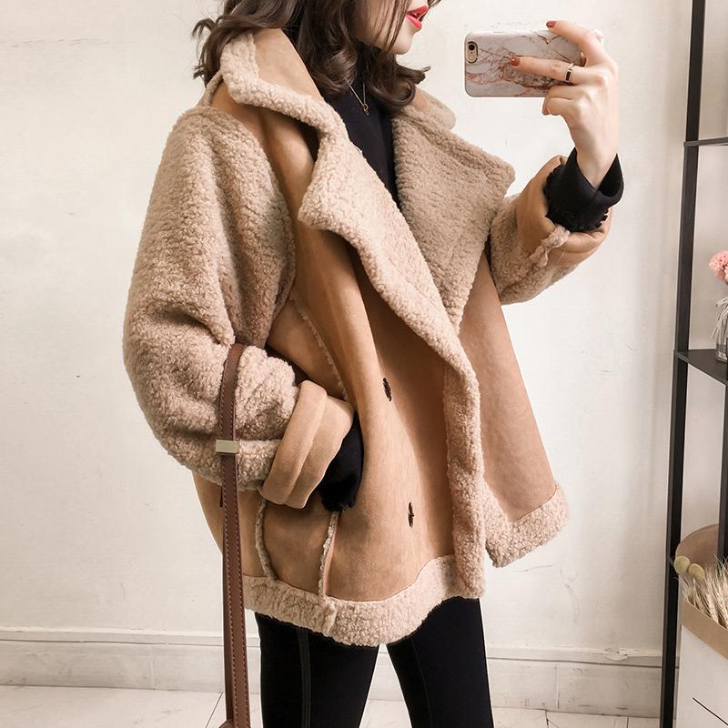 冬季新款韩版宽松机车皮毛一体麂皮绒外套女短款羊羔绒加厚夹克潮满30元减5元