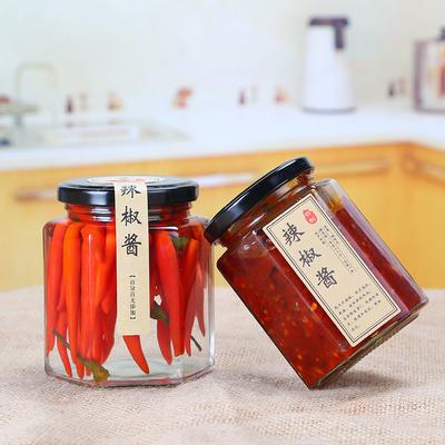 促销六棱玻璃蜂蜜瓶500g 密封罐 辣椒酱瓶 果酱瓶子 酱菜罐头瓶