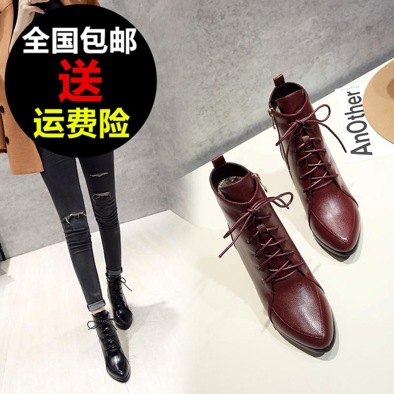 卓诗尼2017秋冬新款女鞋系带显瘦气质短靴粗跟高跟工作女靴马丁靴