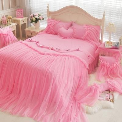 全棉韩式床上用品四件套纯棉田园公主风床裙蕾丝花边床单婚庆家纺