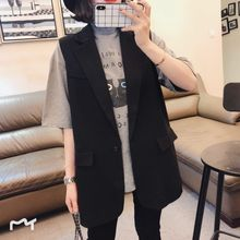 Spring and Summer Han Suit A Button Ma Jia Woman Korean Leisure Coat Sleeveless vest Loose Shoulder Chao Lap