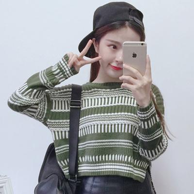 毛衣女装春秋冬新款韩版上衣针织衫条纹宽松短款套头打底衫外套女