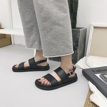 新款 厚底柏俅盥蘼砩程才凉鞋 二字双带学生凉鞋 复古英伦时尚 时尚