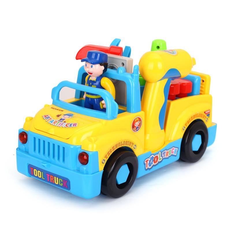 儿童玩具可拆装汽车电动音乐益智拼装螺丝母组合工具工程车男孩宝