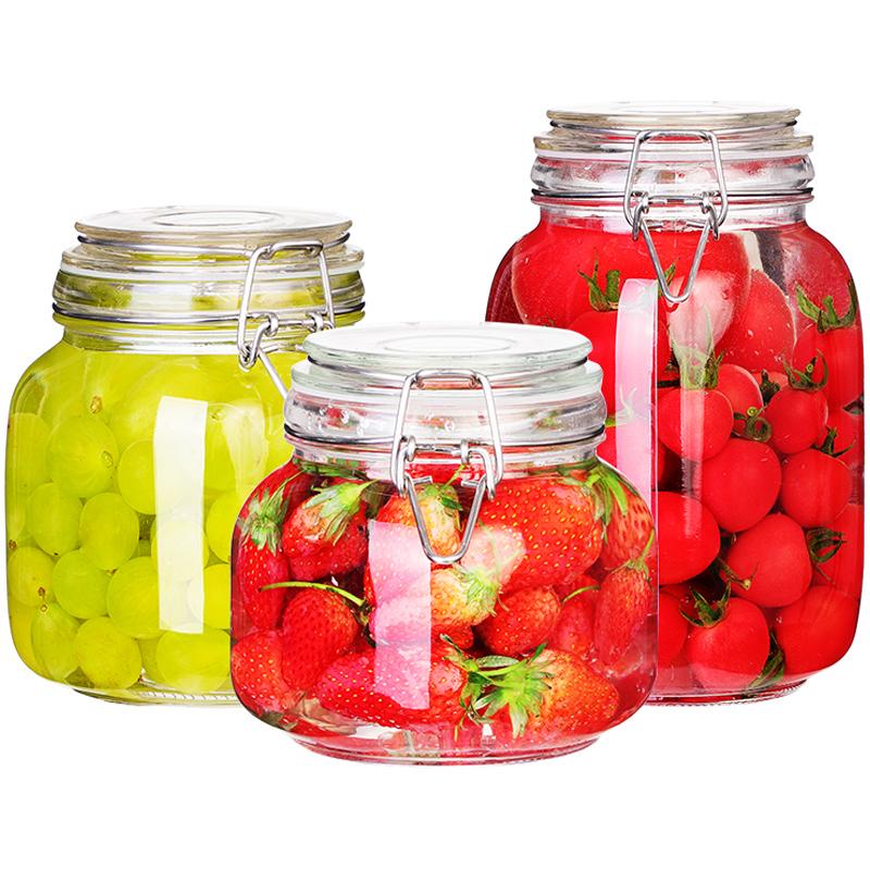 密封罐玻璃瓶子带盖蜂蜜柠檬罐子家用咸菜罐酵素桶食品储存储物罐