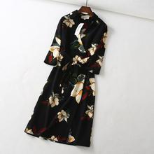 交叉V领花朵印花系带七分袖 法国单 连衣裙DMQ804227 好穿到脱不下