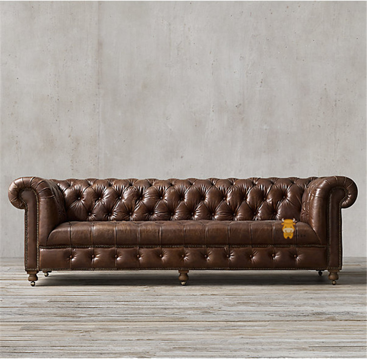 法式三人皮沙发