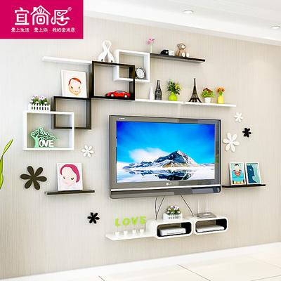 电视背景墙装饰架子墙上置物架壁挂墙壁隔板搁板创意格子烤漆客厅