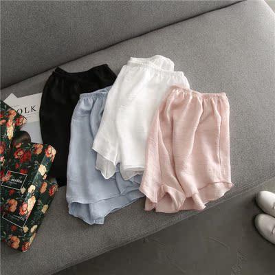 牛奶丝短裤女 夏季宽松橡筋松紧腰头防走光纯色安全短裤阔腿裤