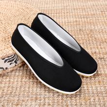 老北京布鞋男款 圆口中老年老头鞋休闲鞋 透气男士黑色布鞋