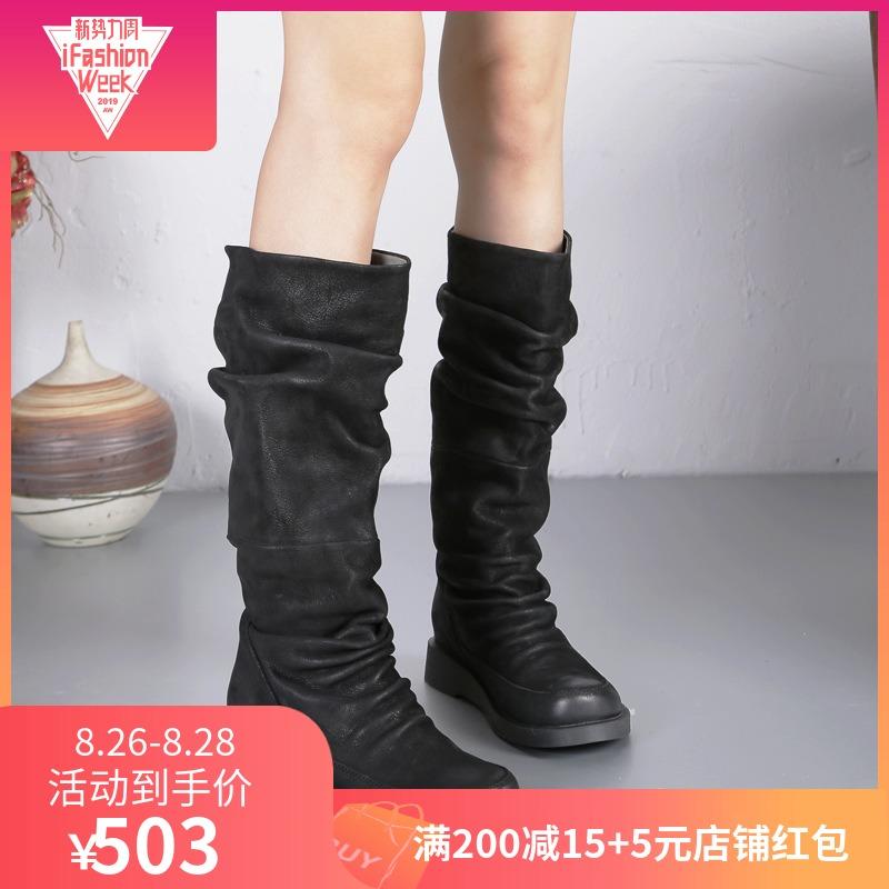 欧美复古真皮手工女靴磨砂皮厚底平跟高筒靴休闲骑士靴及膝长靴子