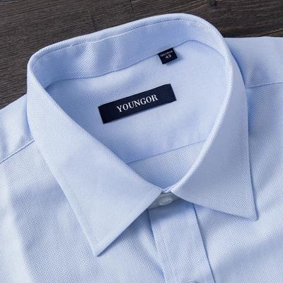 雅戈尔蓝色DP流行免熨短袖衬衫 男士大码休闲半袖衬衣YLA2SDP9314
