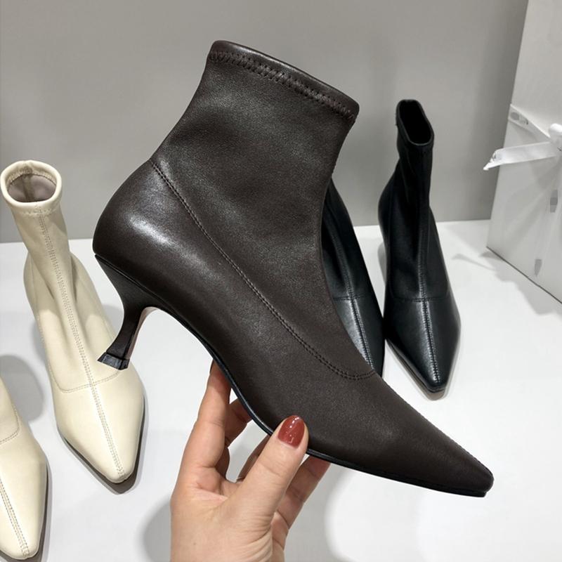 鞋子女冬季加绒中跟短靴网红瘦瘦靴小跟短筒低跟百搭尖头弹力袜靴