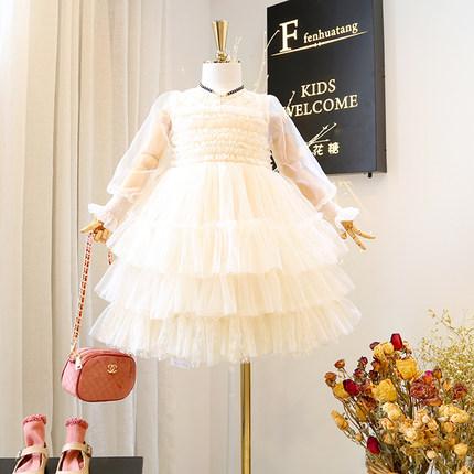 女童连衣裙2019春装新款韩国儿童装时髦公主礼服裙洋气女宝生日裙