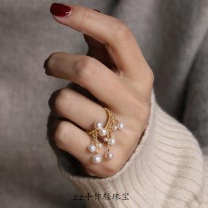 流苏珍珠戒指女时尚个性网红气质韩版潮欧美食指夸张大开口可调节