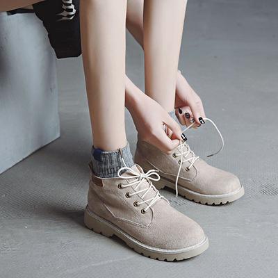 2017新款秋冬季加绒雪地靴棉鞋短靴女百搭厚底学生短筒系带马丁靴