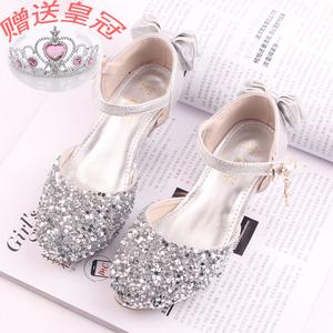 2019新款夏季韩版女童高跟凉鞋儿童百搭公主鞋银色小女孩包头鞋子