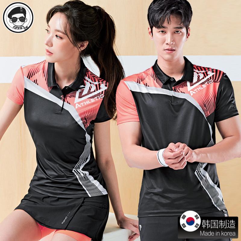 佩吉酷羽毛球服女 2019新款套装球衣乒乓男衣服短袖网球 韩国正品
