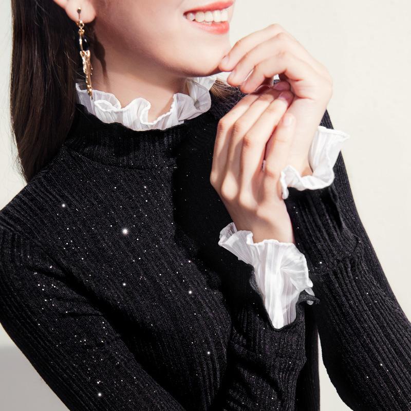 大码小衫女春秋洋气仙女黑白撞色木耳边修身针织衫胖mm高领打底衫
