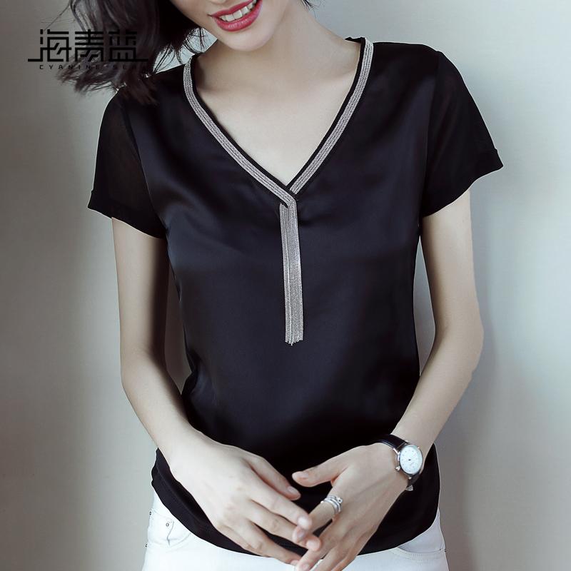 海青蓝2018夏装新款黑色V领短袖百搭上衣修身显瘦时尚T恤女02338