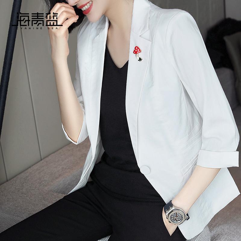 海青蓝春装2019新款时尚修身气质休闲百搭小个子西装外套女11158