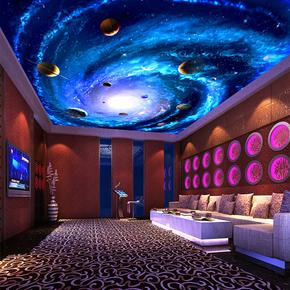天花板装饰吊顶壁纸房顶墙贴画3D立体墙纸自粘防水大贴纸宇宙星空