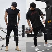 BLUESLFY sports jeans men's loose fitness casual Slim hole elastic trend feet spring and autumn pants