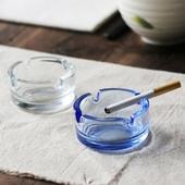 土耳其进口帕莎Pasabahce 无铅玻璃烟灰缸 蓝色圆形烟缸小号烟缸