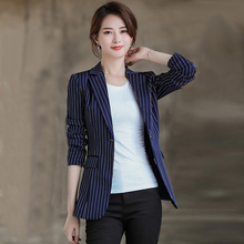 Small suit women's jacket 2019 new net red self-cultivation in the long stripe leisure ladies red suit jacket spring and Autumn