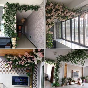 仿真植物树叶树枝树藤装饰假藤条藤蔓绿叶室内客厅竹子造景绿植墙