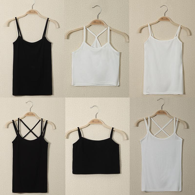 吊帶背心女夏季性感外穿短款打底上衣百搭顯瘦黑白色內搭小吊帶衫