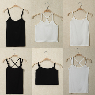吊带背心女夏季性感外穿短款 打底上衣百搭显瘦黑白色内搭小吊带衫