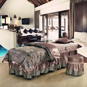 包邮提花美容床罩四件套纯棉欧式按摩洗头美容院床套四件套床单