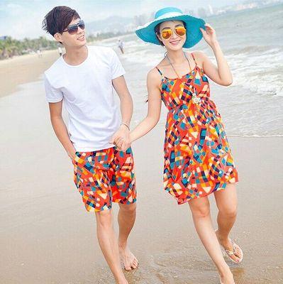 沙滩情侣装夏装海边套装蜜月短袖t恤女裙吊带连衣裙三亚度假男女