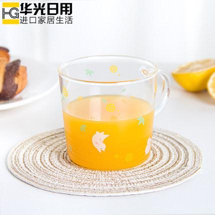 创意日式和风玻璃杯子可爱牛奶杯情侣水杯家用透明果汁饮料花茶杯
