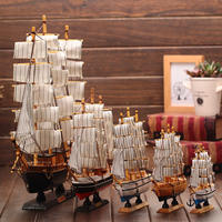 Mediterranean smooth sailing wooden model ornaments desk cabinet decoration hand-simulated craft boat