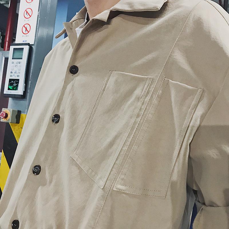 ins夏季日系连体衣服宽松休闲短袖男生纯色九分哈伦裤百搭工装服