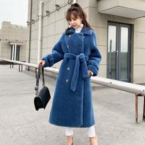 颗粒羊绒反季皮草外套羊剪绒皮毛一体中长款大衣女2019新款羊羔毛