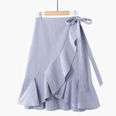 百搭一片式鱼尾裙纯色简约显瘦A字包臀大裙摆半身裙 2019春夏新款