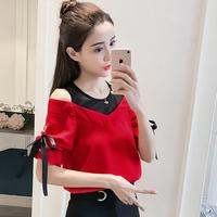 2018夏季新品圆领套头短袖雪纺衫女装气质蝴蝶结网纱拼接露肩上衣