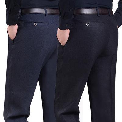 春秋款中年休闲裤男士40中老年人西裤夏季50岁爸爸装裤子加绒加厚