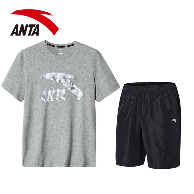 安踏运动套装男2019春季新款透气短装短袖t恤薄款短裤跑步运动服