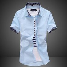 夏季男士短袖衬衫青年休闲衣服学生印花潮流衬衣韩版修身帅气男装