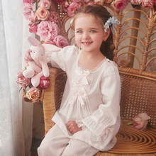 RoseTree Girls'Pyjamas Spring and Autumn Children's Pyjamas Suit of Pure Cotton Princess Palace Baby Thin Home Dresses