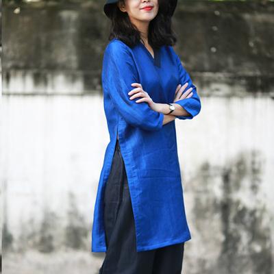 游设计原创新中式香云纱拼接侧开叉长款衬衫上衣 月裳