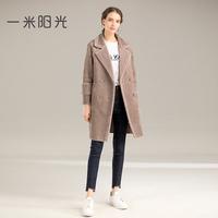 皮毛一体外套女中长款 新款冬季加绒加厚羊剪毛拼接棉衣大衣