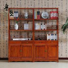 中式仿古实木书柜三层书架花瓶架茶叶架博古架明清古典家具特价