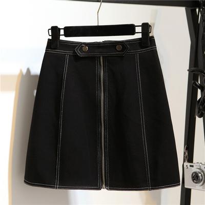 秋季韩版高腰拉链港味半身裙女时尚显瘦a字裙包臀裙黑色短裙子女
