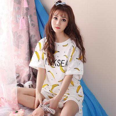 夏天睡衣女两件套装短袖可爱韩版宽松学生纯棉夏装少女家居服夏季
